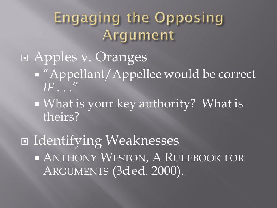  Apples v. Oranges  Appellant/Appellee would be correct IF...