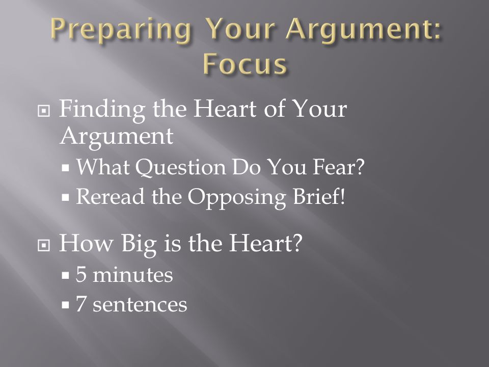  Finding the Heart of Your Argument  What Question Do You Fear.