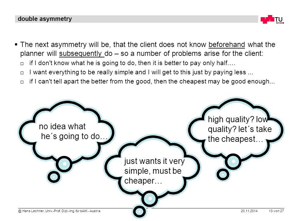 20.11.2014 13 von 27 @ Hans Lechner, Univ.-Prof. Dipl.-Ing. für bAIK - Austria double asymmetry  The next asymmetry will be, that the client does not