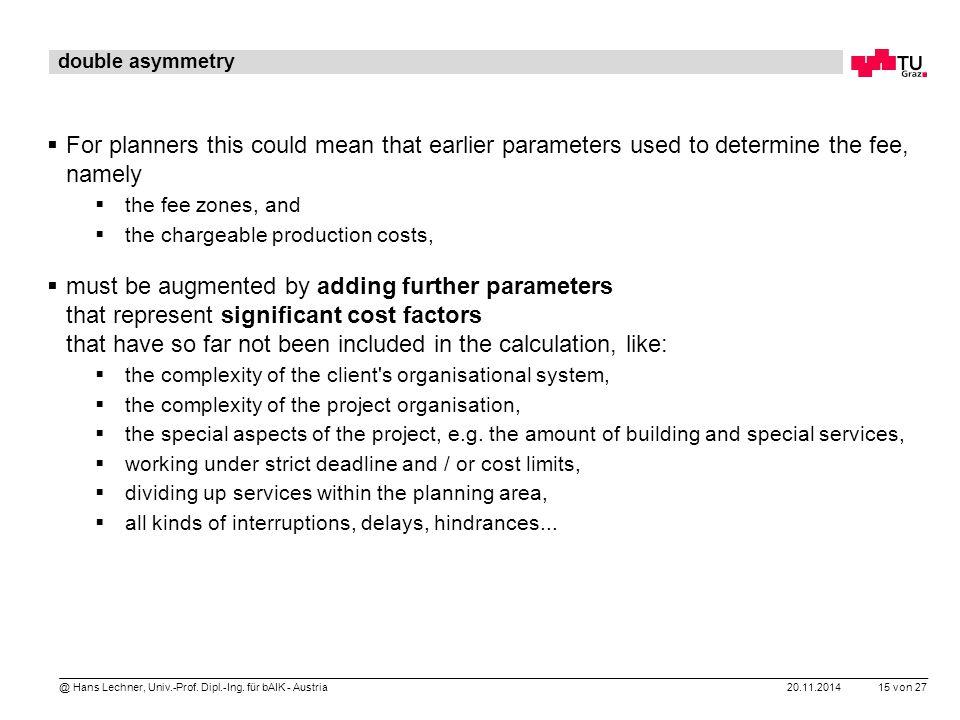 20.11.2014 15 von 27 @ Hans Lechner, Univ.-Prof. Dipl.-Ing. für bAIK - Austria double asymmetry  For planners this could mean that earlier parameters
