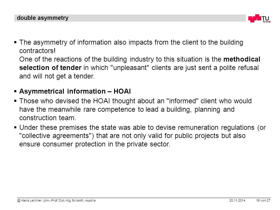 20.11.2014 16 von 27 @ Hans Lechner, Univ.-Prof. Dipl.-Ing. für bAIK - Austria double asymmetry  The asymmetry of information also impacts from the c