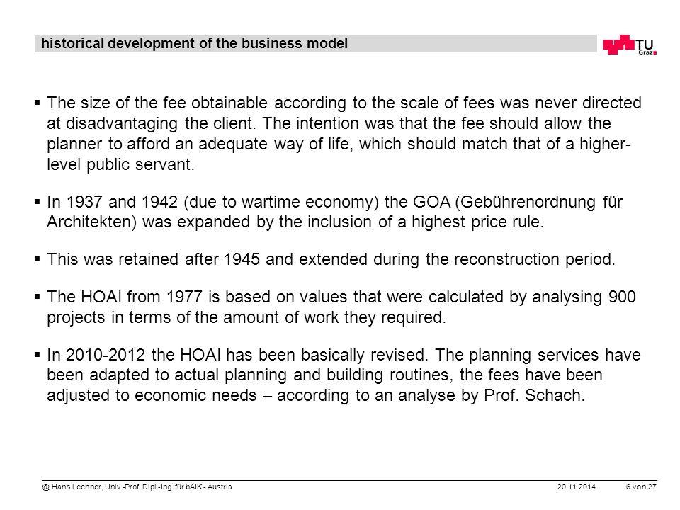 20.11.2014 6 von 27 @ Hans Lechner, Univ.-Prof. Dipl.-Ing. für bAIK - Austria historical development of the business model  The size of the fee obtai