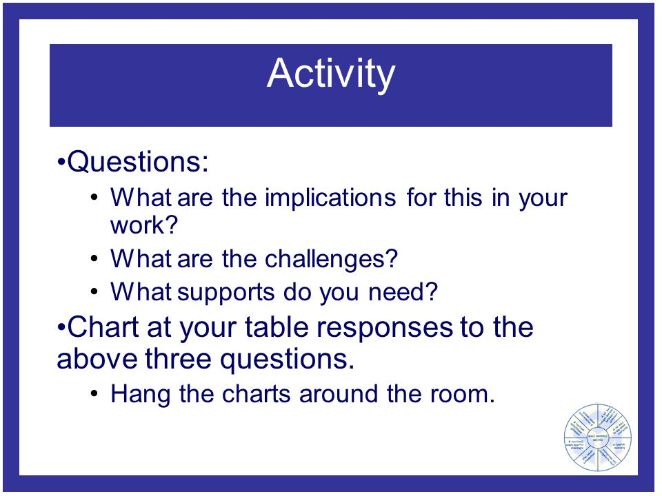 Activity Questions: What are the implications for this in your work? What are the challenges? What supports do you need? Chart at your table responses
