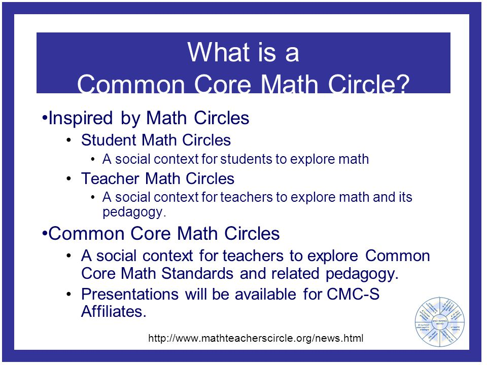 What is a Common Core Math Circle? Inspired by Math Circles Student Math Circles A social context for students to explore math Teacher Math Circles A