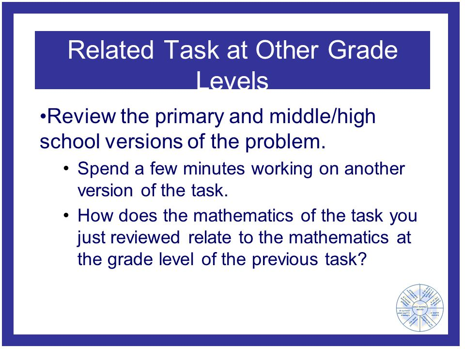 Related Task at Other Grade Levels Review the primary and middle/high school versions of the problem.