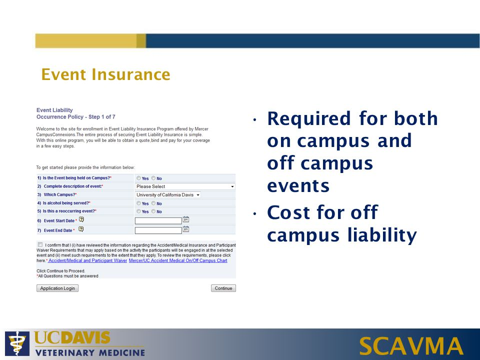 SCAVMA Event Insurance Required for both on campus and off campus events Cost for off campus liability