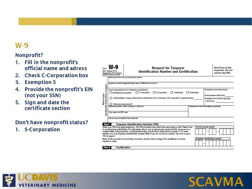 SCAVMA W-9 Nonprofit.