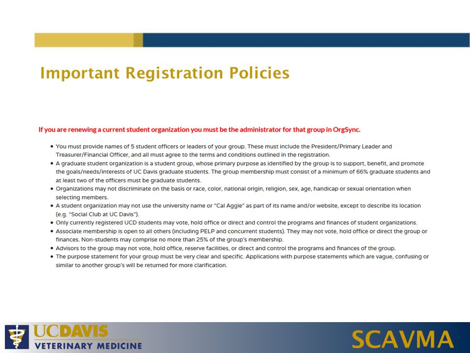 SCAVMA Important Registration Policies