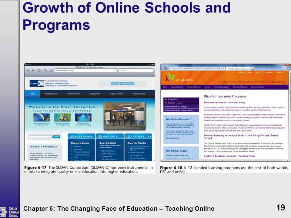 Growth of Online Schools and Programs Chapter 6: The Changing Face of Education – Teaching Online 19