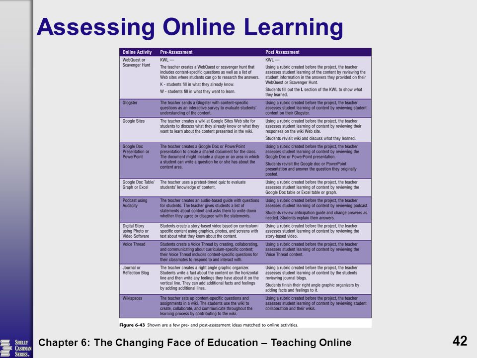 Assessing Online Learning Chapter 6: The Changing Face of Education – Teaching Online 42