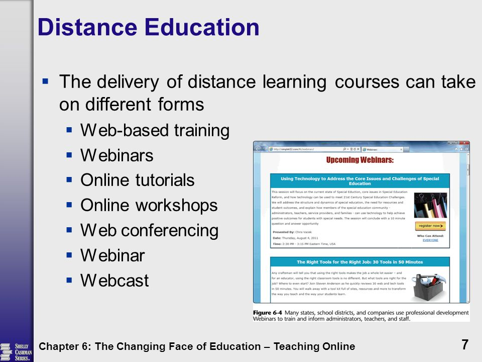 Distance Education  Today, all federal and state governments, most local governments, as well as many businesses and organizations in the United States, provide employees with some type of Web-based training in order to teach new skills or upgrade current skills  Thousands of online classes are available in virtually all disciplines and millions of undergraduate and graduate students take online classes every term  Walden University is one of the leading fully accredited 100 percent online universities in the world Chapter 6: The Changing Face of Education – Teaching Online 8