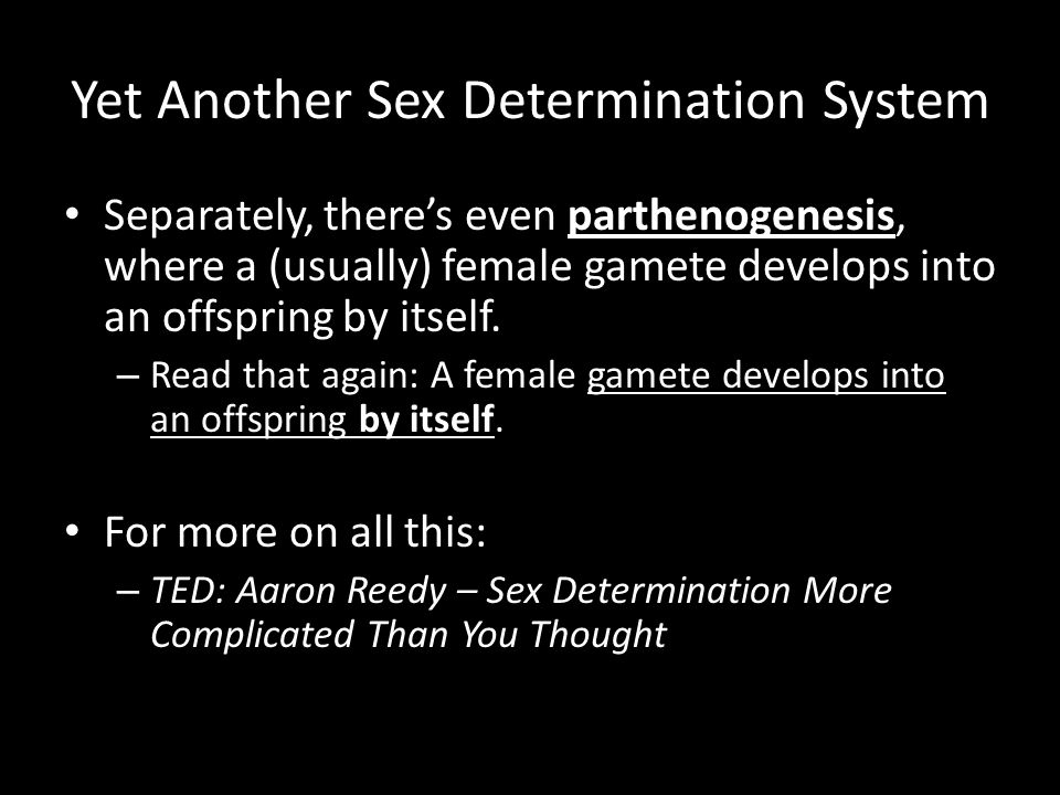 Yet Another Sex Determination System Separately, there's even parthenogenesis, where a (usually) female gamete develops into an offspring by itself. –