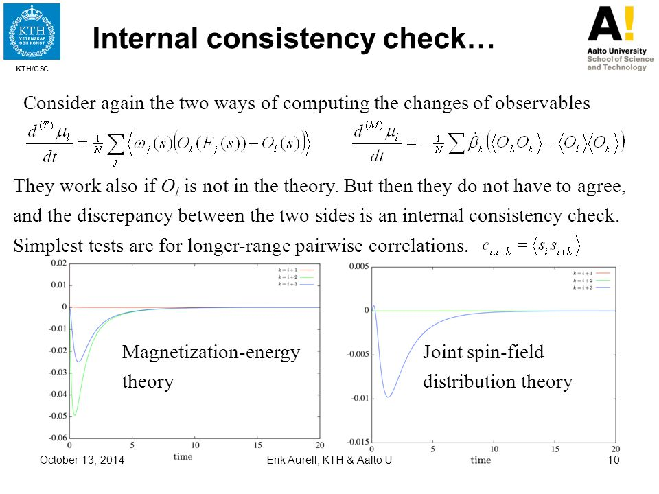 KTH/CSC October 13, 2014Erik Aurell, KTH & Aalto U10 Internal consistency check… Consider again the two ways of computing the changes of observables T