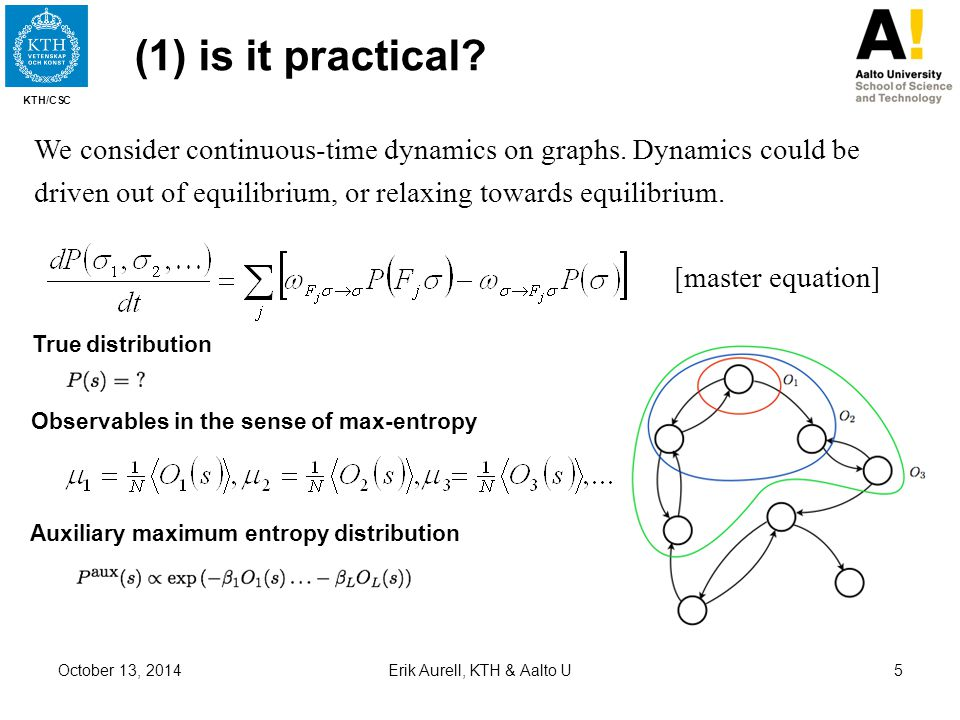 KTH/CSC October 13, 2014Erik Aurell, KTH & Aalto U5 (1) is it practical? [master equation] Auxiliary maximum entropy distribution True distribution We
