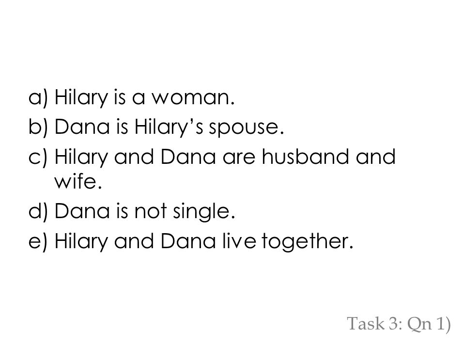 a)Hilary is a woman. b)Dana is Hilary's spouse. c)Hilary and Dana are husband and wife.