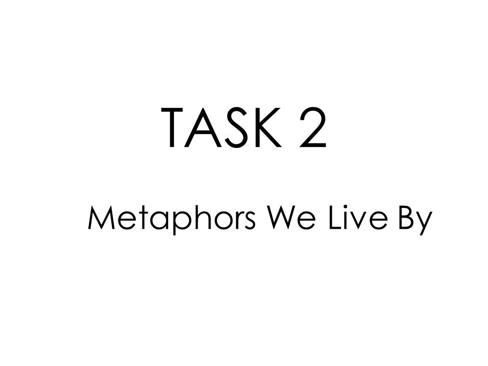Metaphors We Live By TASK 2