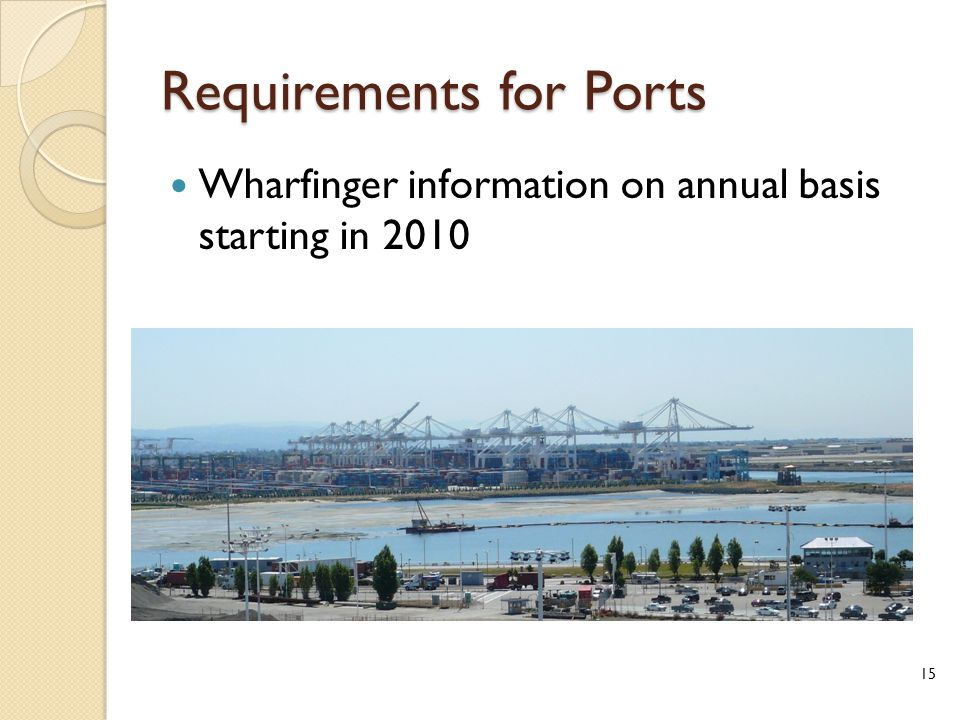 Requirements for Ports Wharfinger information on annual basis starting in 2010 15