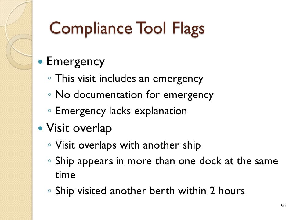 Compliance Tool Flags Emergency ◦ This visit includes an emergency ◦ No documentation for emergency ◦ Emergency lacks explanation Visit overlap ◦ Visit overlaps with another ship ◦ Ship appears in more than one dock at the same time ◦ Ship visited another berth within 2 hours 50