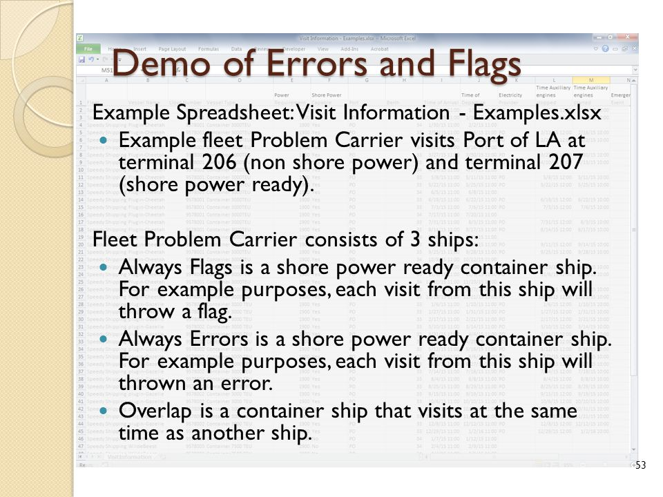 Demo of Errors and Flags Example Spreadsheet: Visit Information - Examples.xlsx Example fleet Problem Carrier visits Port of LA at terminal 206 (non shore power) and terminal 207 (shore power ready).