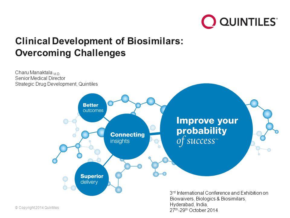 © Copyright 2014 Quintiles Clinical Development of Biosimilars: Overcoming Challenges Charu Manaktala M.D.