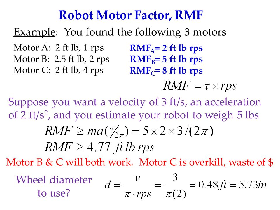 Robot Efficiency RMF is for 100% efficient systems.