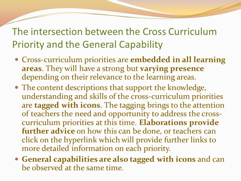 The intersection between the Cross Curriculum Priority and the General Capability Cross-curriculum priorities are embedded in all learning areas. They