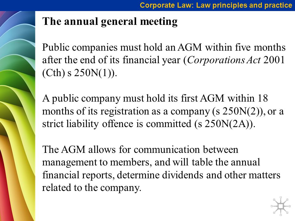 Corporate Law: Law principles and practice The annual general meeting Public companies must hold an AGM within five months after the end of its financial year (Corporations Act 2001 (Cth) s 250N(1)).