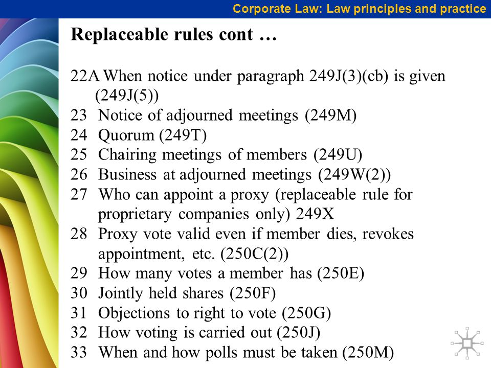 Corporate Law: Law principles and practice Replaceable rules cont … 22A When notice under paragraph 249J(3)(cb) is given (249J(5)) 23Notice of adjourned meetings (249M) 24Quorum (249T) 25Chairing meetings of members (249U) 26Business at adjourned meetings (249W(2)) 27Who can appoint a proxy (replaceable rule for proprietary companies only) 249X 28Proxy vote valid even if member dies, revokes appointment, etc.