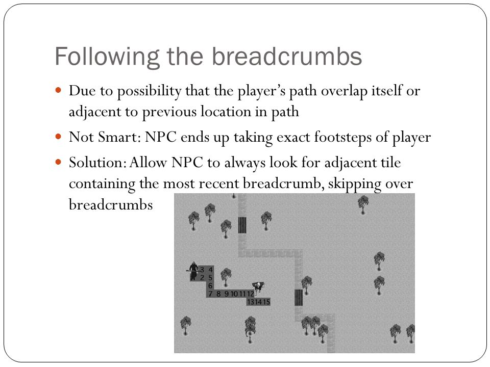 Following the breadcrumbs Due to possibility that the player's path overlap itself or adjacent to previous location in path Not Smart: NPC ends up tak