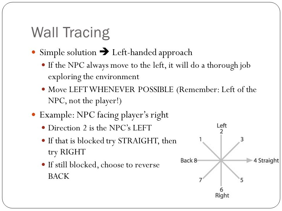 Wall Tracing Simple solution  Left-handed approach If the NPC always move to the left, it will do a thorough job exploring the environment Move LEFT