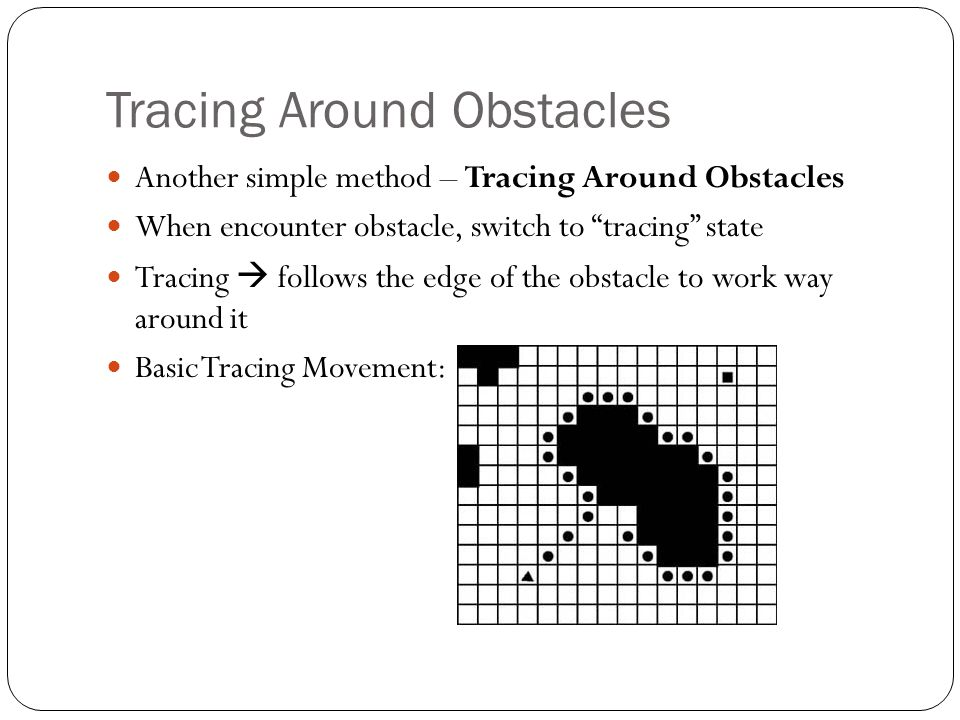 """Tracing Around Obstacles Another simple method – Tracing Around Obstacles When encounter obstacle, switch to """"tracing"""" state Tracing  follows the edg"""