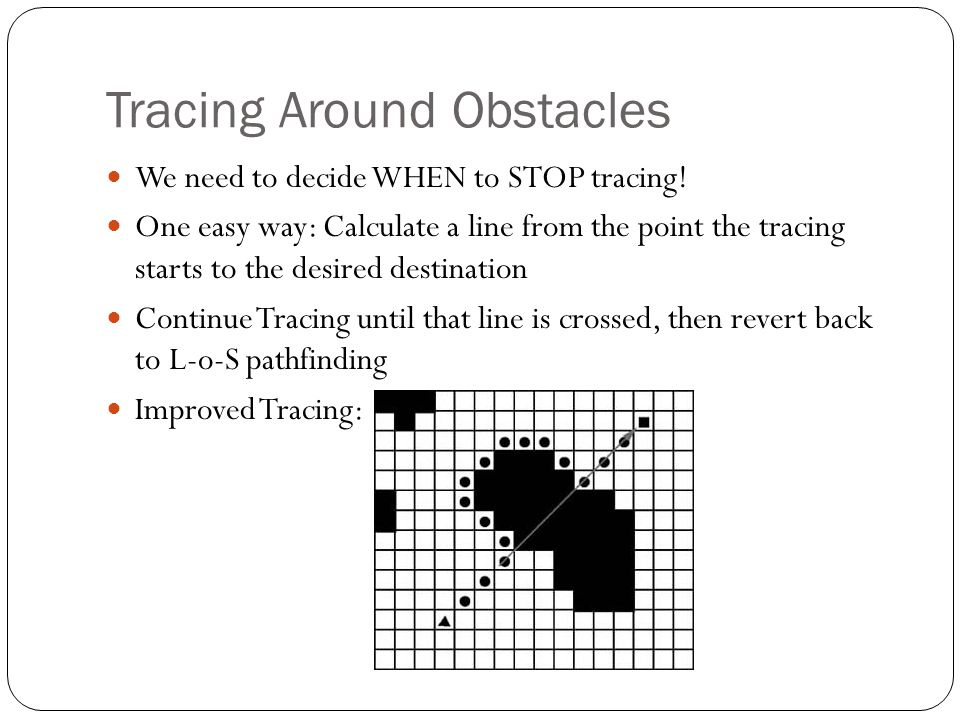 Tracing Around Obstacles We need to decide WHEN to STOP tracing! One easy way: Calculate a line from the point the tracing starts to the desired desti