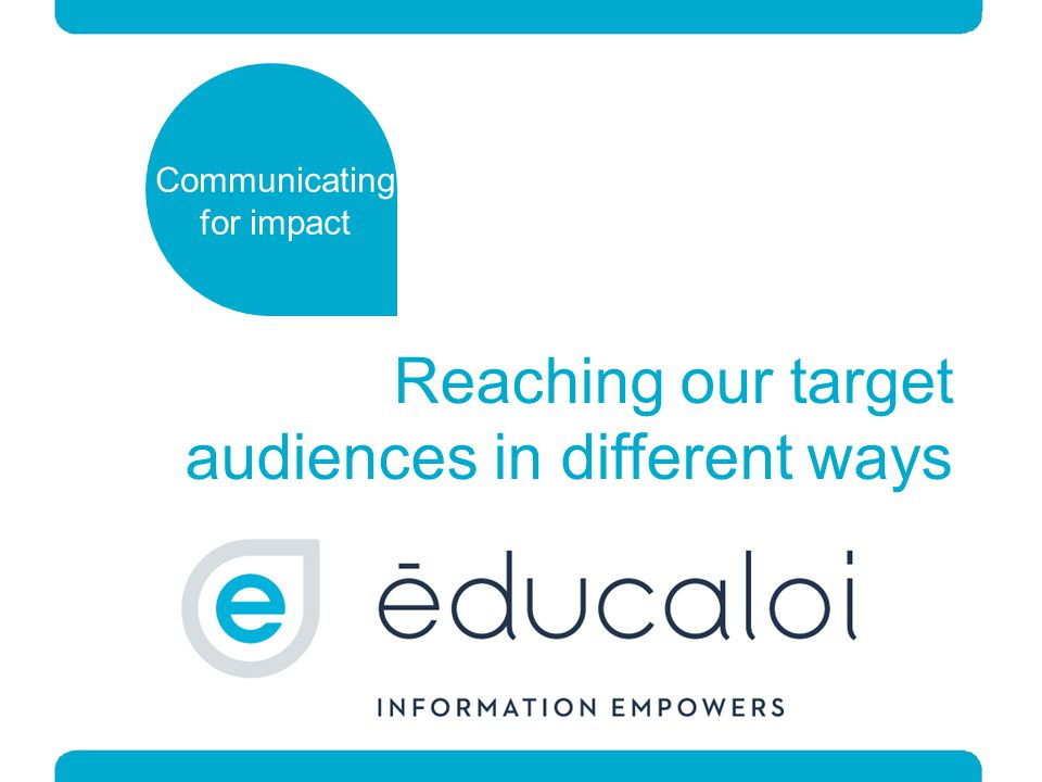 Reaching our target audiences in different ways Communicating for impact