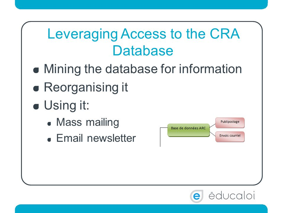 Leveraging Access to the CRA Database Mining the database for information Reorganising it Using it: Mass mailing Email newsletter