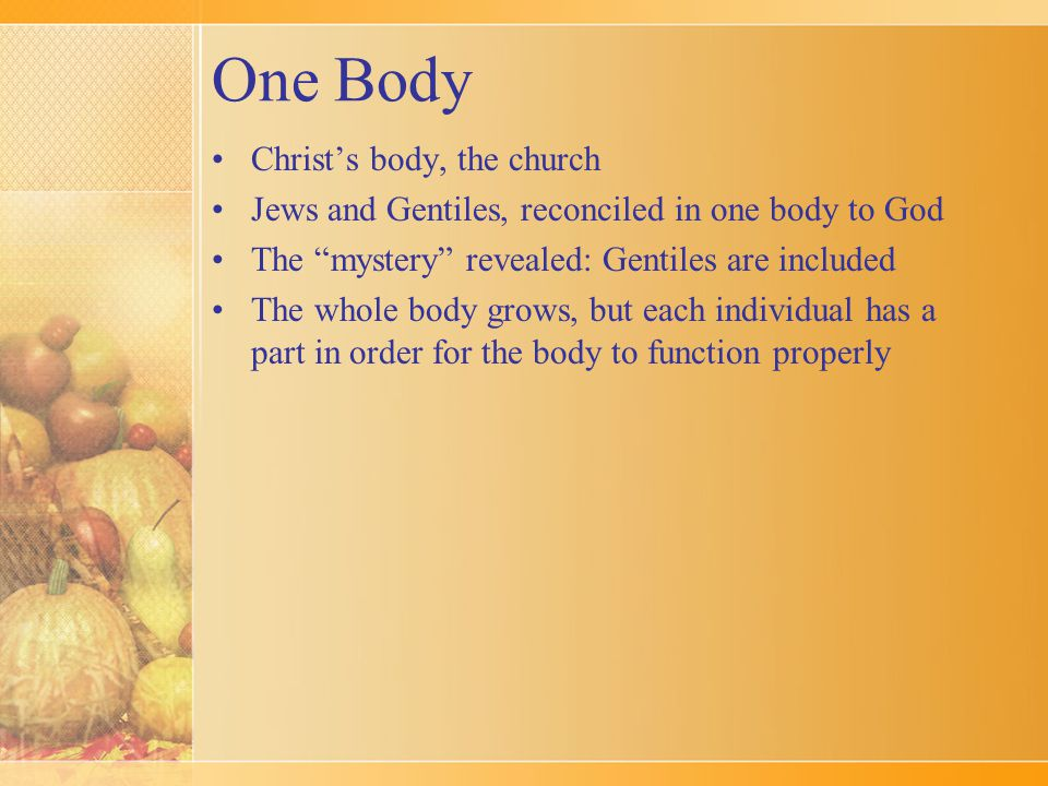 One Body Christ's body, the church Jews and Gentiles, reconciled in one body to God The mystery revealed: Gentiles are included The whole body grows, but each individual has a part in order for the body to function properly