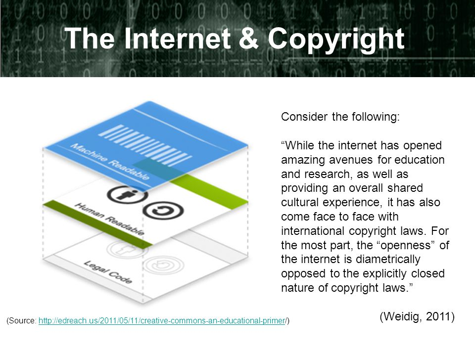 The Internet & Copyright Consider the following: While the internet has opened amazing avenues for education and research, as well as providing an overall shared cultural experience, it has also come face to face with international copyright laws.