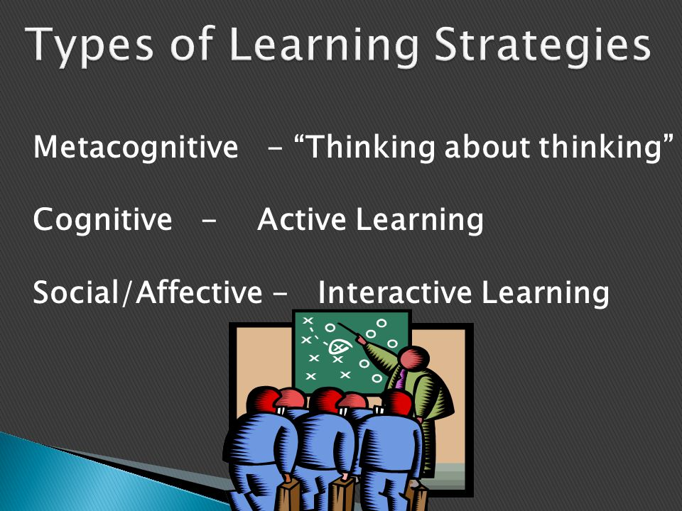 """Metacognitive - """"Thinking about thinking"""" Cognitive - Active Learning Social/Affective - Interactive Learning"""