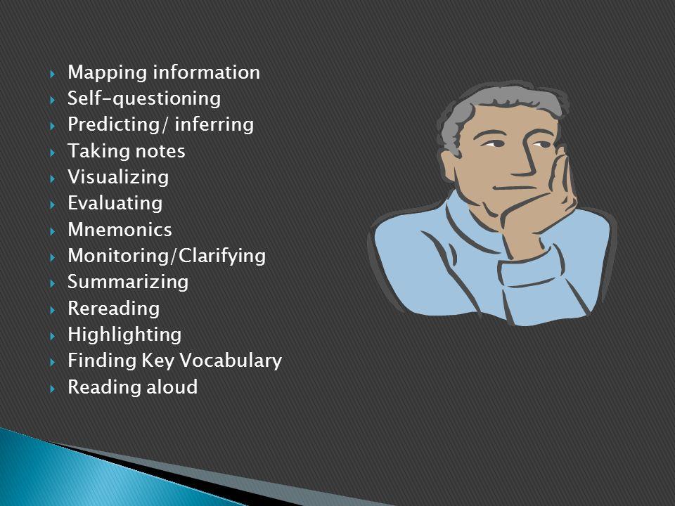  Mapping information  Self-questioning  Predicting/ inferring  Taking notes  Visualizing  Evaluating  Mnemonics  Monitoring/Clarifying  Summa