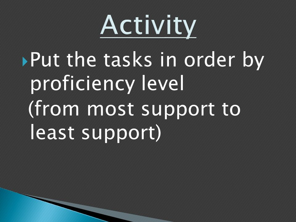  Put the tasks in order by proficiency level (from most support to least support)