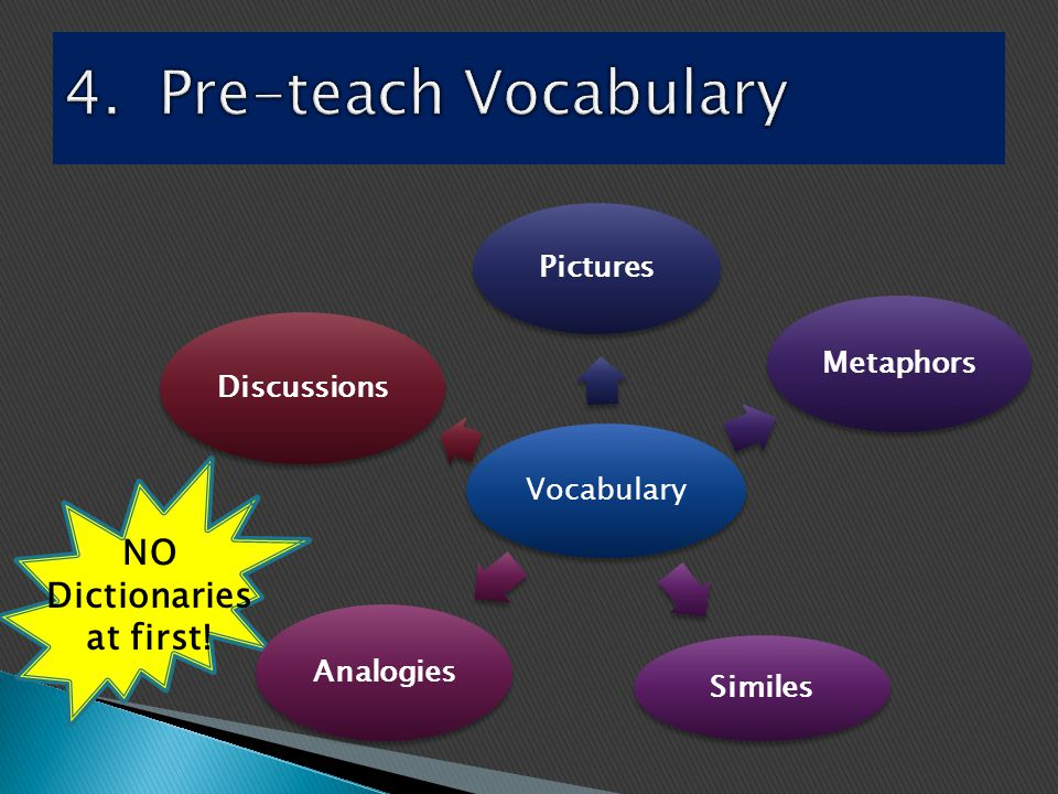Vocabulary Pictures Metaphors Similes Analogies Discussions NO Dictionaries at first!