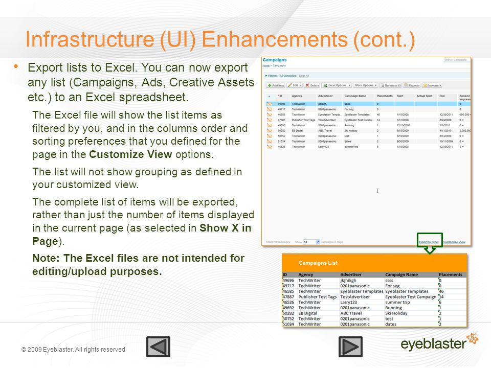 © 2009 Eyeblaster. All rights reserved Infrastructure (UI) Enhancements (cont.) Export lists to Excel. You can now export any list (Campaigns, Ads, Cr
