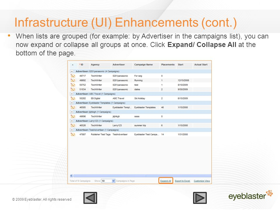 © 2009 Eyeblaster. All rights reserved Infrastructure (UI) Enhancements (cont.) When lists are grouped (for example: by Advertiser in the campaigns li
