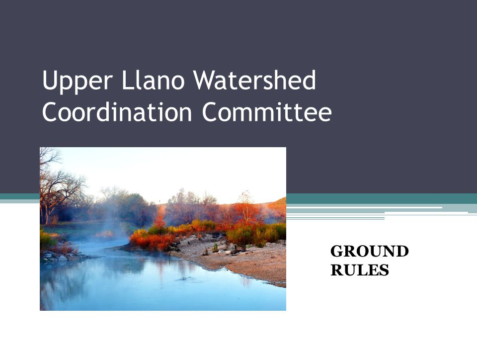 1.PURPOSE Provide local input into the Upper Llano Watershed Protection Plan (WPP).
