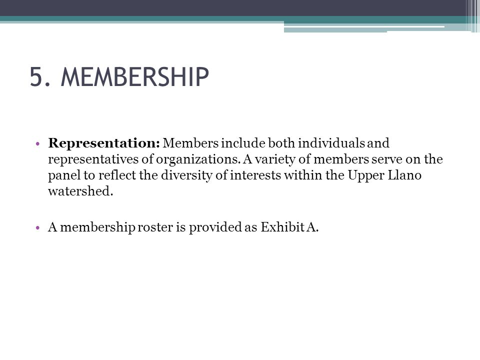 5. MEMBERSHIP Representation: Members include both individuals and representatives of organizations. A variety of members serve on the panel to reflec