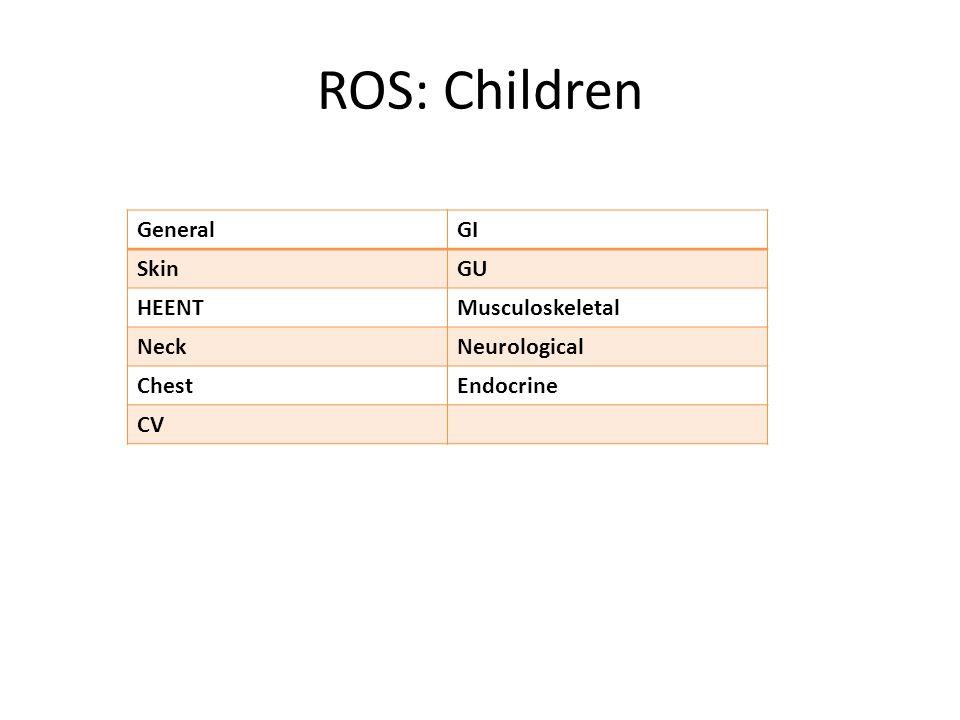 ROS: Children GeneralGI SkinGU HEENTMusculoskeletal NeckNeurological ChestEndocrine CV
