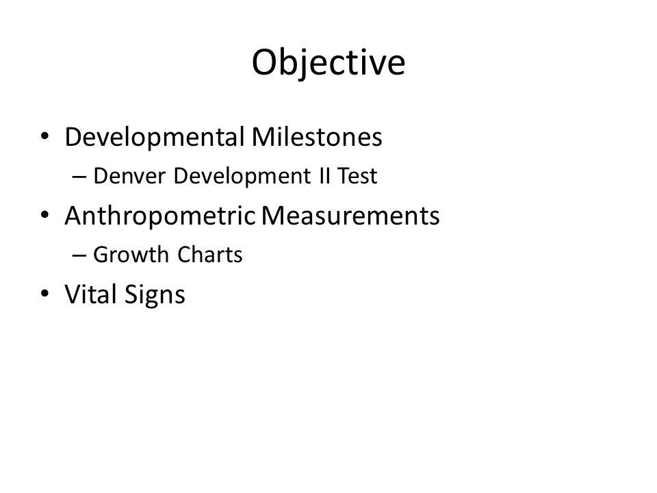 Objective Developmental Milestones – Denver Development II Test Anthropometric Measurements – Growth Charts Vital Signs
