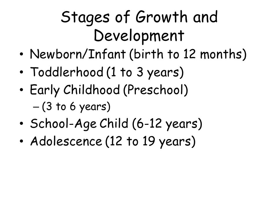 Stages of Growth and Development Newborn/Infant (birth to 12 months) Toddlerhood (1 to 3 years) Early Childhood (Preschool) – (3 to 6 years) School-Age Child (6-12 years) Adolescence (12 to 19 years)