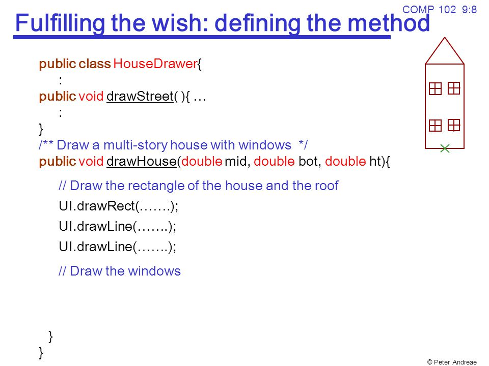 © Peter Andreae COMP 102 9:8 Fulfilling the wish: defining the method public class HouseDrawer{ : public void drawStreet( ){ … : } /** Draw a multi-story house with windows */ public void drawHouse(double mid, double bot, double ht){ // Draw the rectangle of the house and the roof UI.drawRect(…….); UI.drawLine(…….); // Draw the windows } }