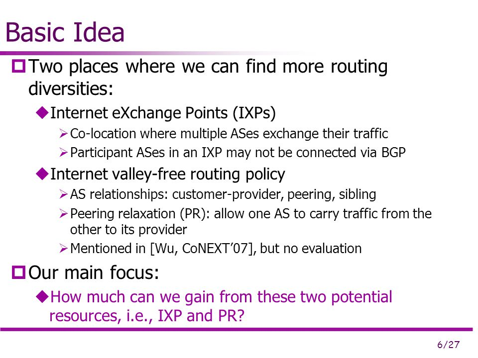 6/27 Basic Idea  Two places where we can find more routing diversities:  Internet eXchange Points (IXPs)  Co-location where multiple ASes exchange their traffic  Participant ASes in an IXP may not be connected via BGP  Internet valley-free routing policy  AS relationships: customer-provider, peering, sibling  Peering relaxation (PR): allow one AS to carry traffic from the other to its provider  Mentioned in [Wu, CoNEXT'07], but no evaluation  Our main focus:  How much can we gain from these two potential resources, i.e., IXP and PR?