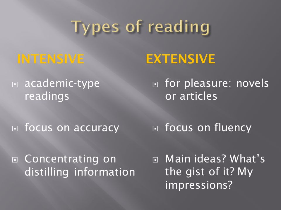 INTENSIVEEXTENSIVE  academic-type readings  focus on accuracy  Concentrating on distilling information  for pleasure: novels or articles  focus o